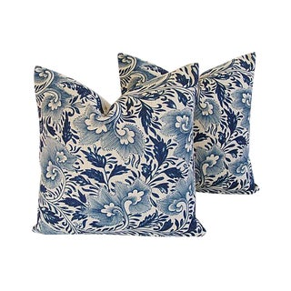 Custom Tailored Indigo Blue Floral Linen Feather/Down Pillows - Pair