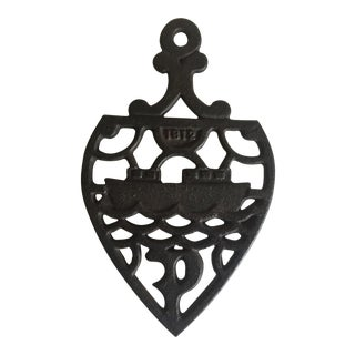 1812 Antique Cast Iron Ornate Ship Trivet