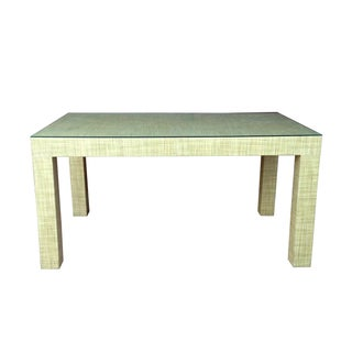 Vintage Grass Cloth Parsons Dining Table