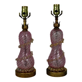 Pair of Vintage 1960's Murano Glass Table Lamps