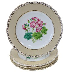 Antique Hand-Painted Floral Plates - Set of 4