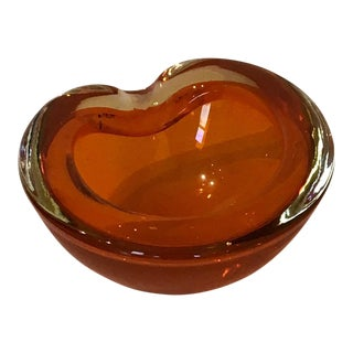Vintage 1950s Tangerine Cased Glass Bowl