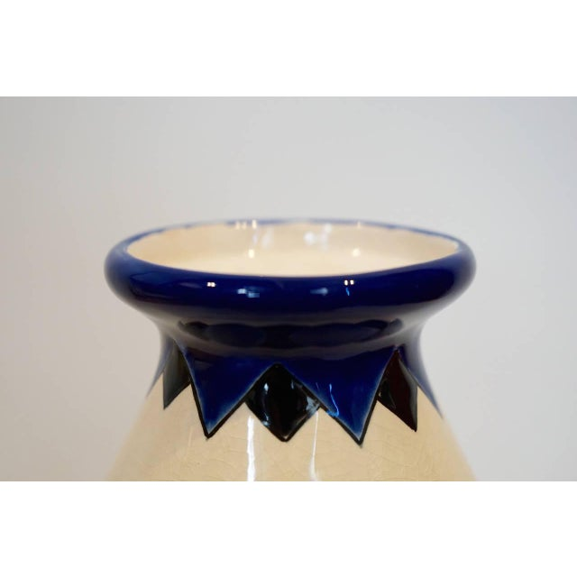 Rare Cobalt and Cream Charles Catteau Vase - Image 4 of 8