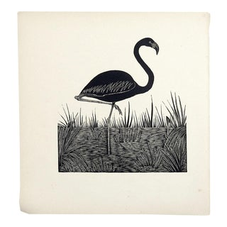 Flamingo Block Print Illustration