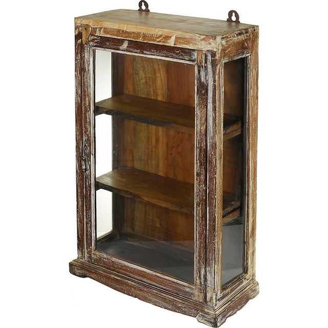 Rustic Brown Wood Showcase Wall Cabinet - Image 2 of 4