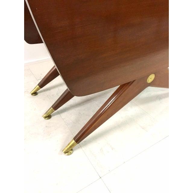 Gio Ponti Attr. Brass & Walnut Dining Table - Image 4 of 11