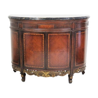 Regency Style Marble Top Inlaid Demilune Commode