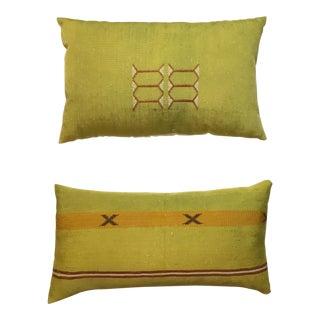 Mustard Cactus Silk Pillows - A Pair