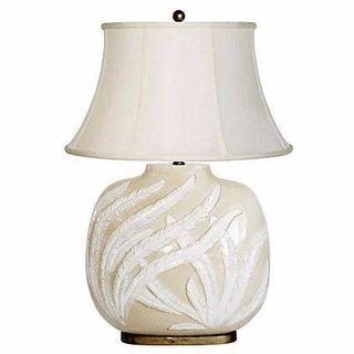 Chapman Vintage Glazed Tan & White Fern Leaf Lamp