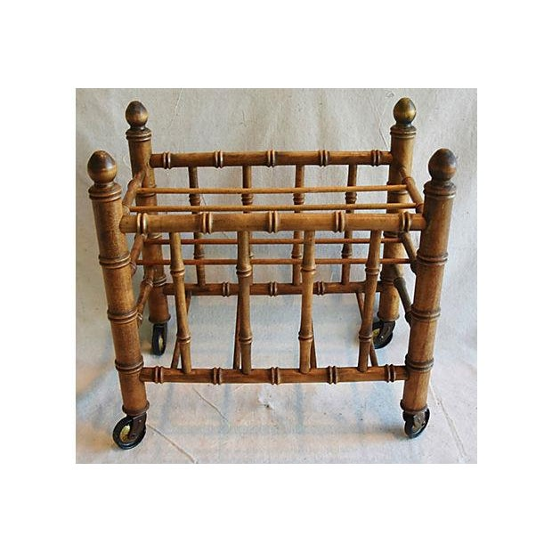1920s Carved Wooden Bamboo-Style Magazine Rack Holder - Image 6 of 11