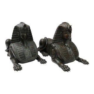 Pair of French Empire Revival Bronze Sphinx Sculptures