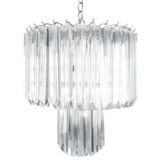 Round Chrome & Lucite Two-Tier Chandelier