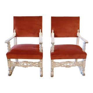 Victorian Gothic Wood & Velvet High Back Armchairs - A Pair