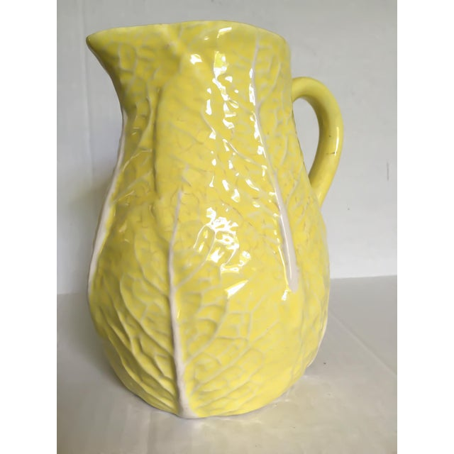 Yellow Majolica Cabbage Leaf Pitcher - Image 5 of 8