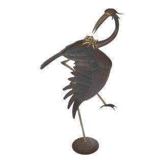 4' Tall T. Daniel Mid-Century Modern Mixed Metal Crane Sculpture
