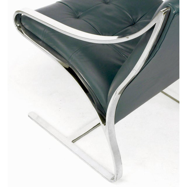 Four Bert England for Brueton Polished Steel & Cadet Blue Leather Lounge Chairs - Image 7 of 10