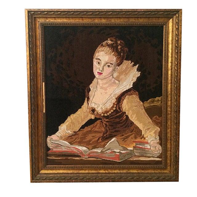 Vintage Needle Point Framed Art of Reading Lady - Image 1 of 5