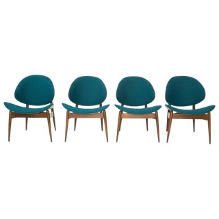 Kodawood Teal Bentwood Clam Chairs - Set of 4