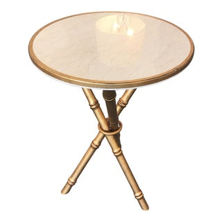 Antique Gold and Faux Marble Accent Table