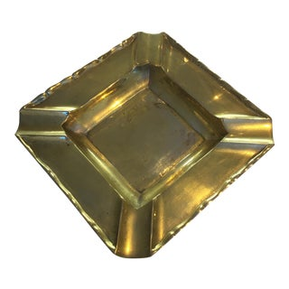 Vintage Brass Square Ashtray