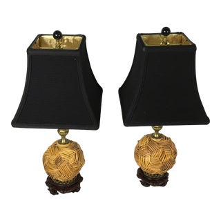 Pair Of Mackenzie Childs Rattan Cane Ball Table Lamps