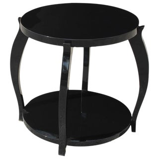 French Art Deco Black Lacquer Two-Tier Side Table