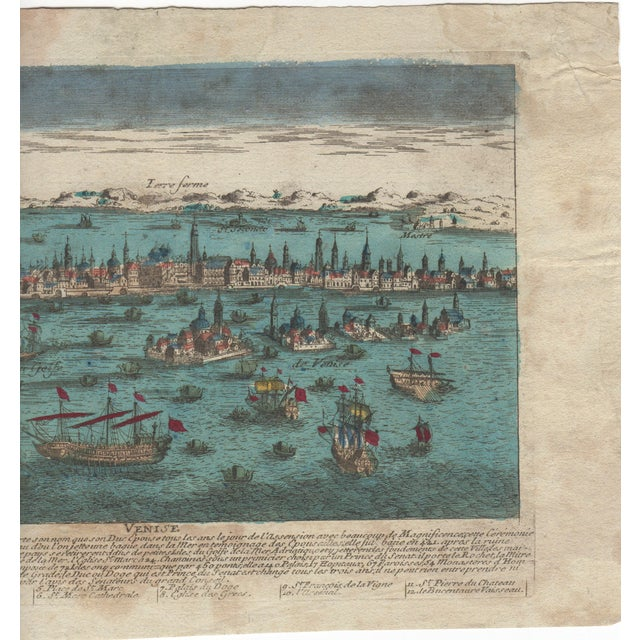 Image of Venice Italy Hand Colored Panorma Etching