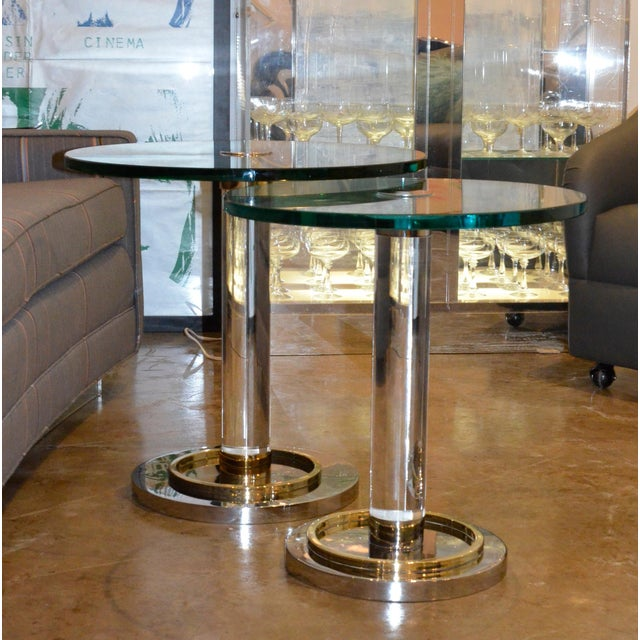 Two Lucite, Brass and Chrome Charles Hollis Jones Occasional Side Tables - Image 2 of 11
