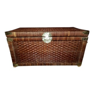 1970s Oriental Rattan Chest With Brass Fixtures