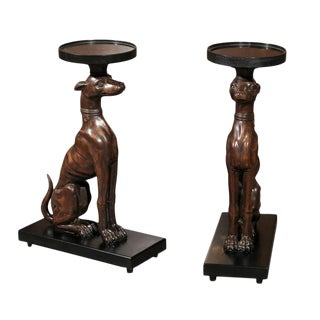Pair of Carved Wood Dogs or Whippets or Greyhounds Drink Tables on Bases