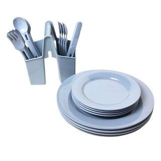 Vintage Elan Blue Dishes, Utensils & Caddy - Set of 25
