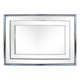 Aluminum Frame Two Levels Mirror on Clear Glass