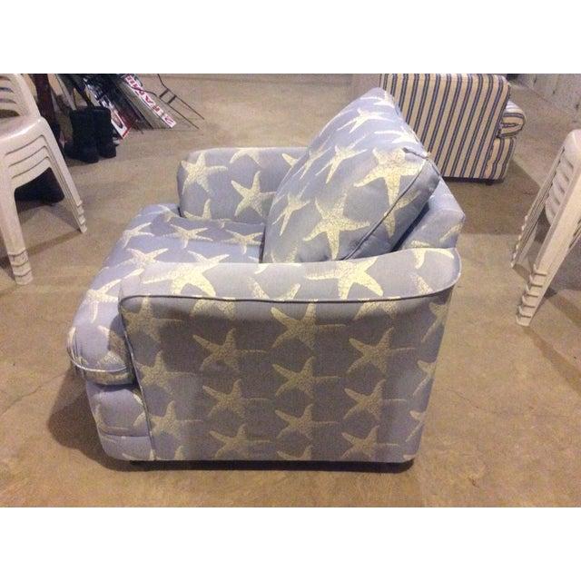 """Starfish Blue"" Chair & Ottoman Set - Image 3 of 7"
