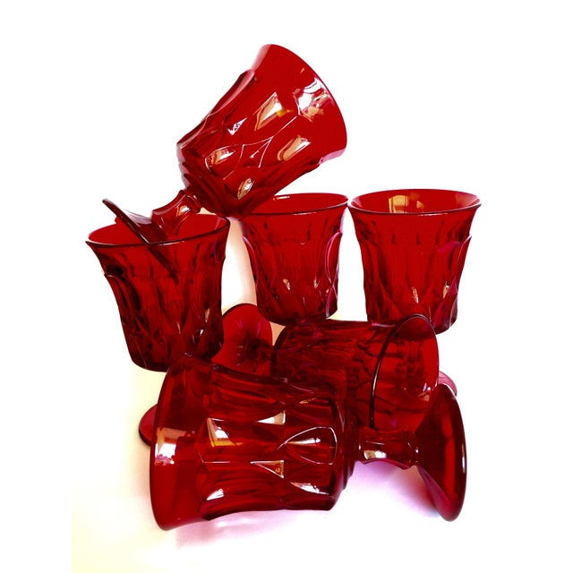 Mid-Century Ruby Red Goblets - Set of 6 - Image 11 of 11