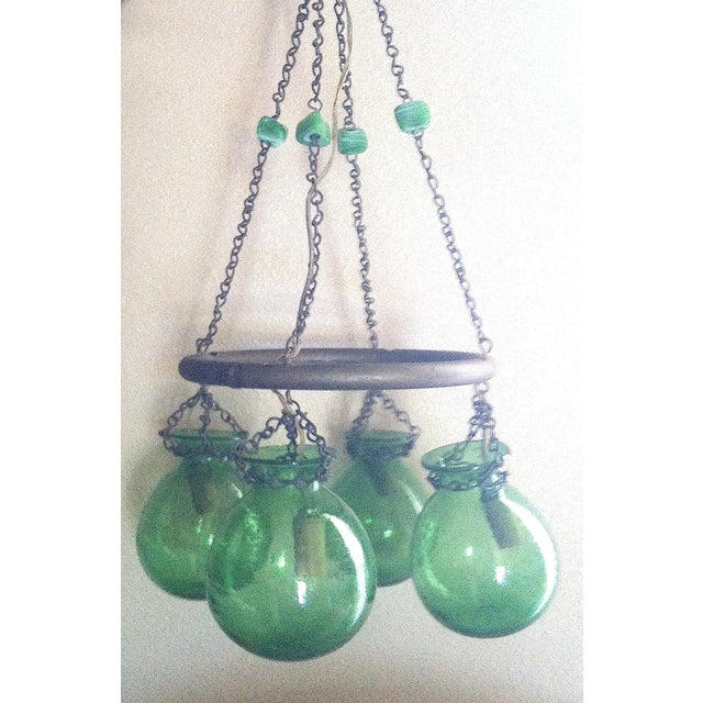 Image of Egyptian Green Hand Blown Glass Chandelier