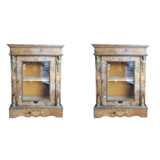 French Marquetry Walnut Display Cabinets - A Pair - Image 1 of 7