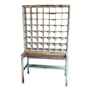 Distressed Light Blue Mail Sorter