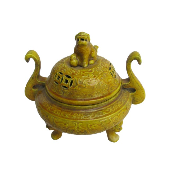 Chinese Yellow Glaze Ceramic Incense Burner - Image 6 of 6