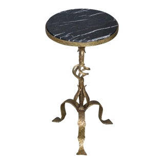 Small Gilt Iron Side Table with Marble Top