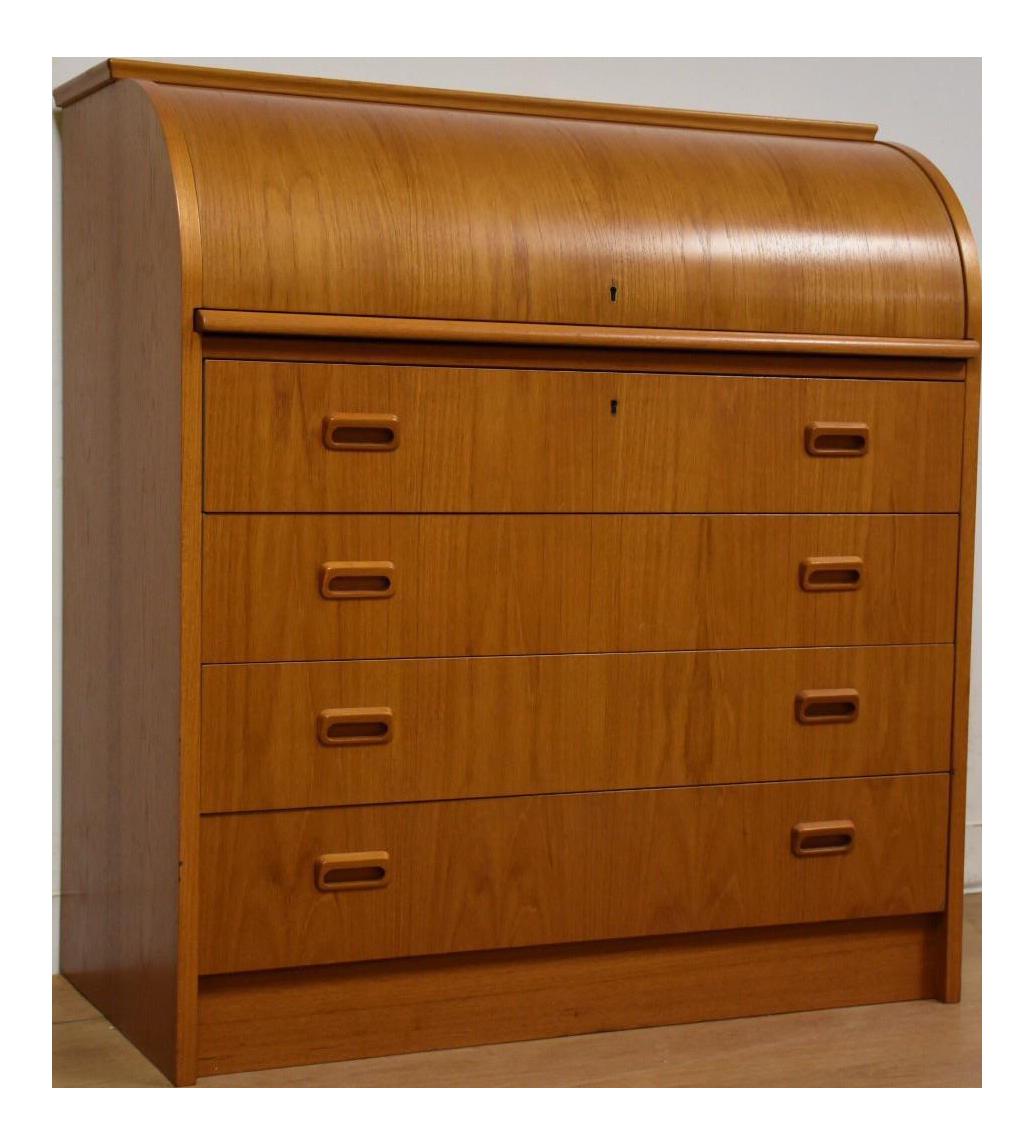 midcentury modern teak rolltop desk - Rolltop Desk
