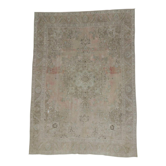 Persian Washed Out Tabriz Rug- 9′1″ × 12′6″ - Image 1 of 6