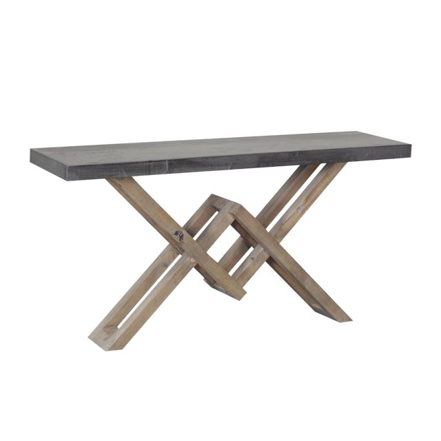 White Pine & Concrete Console - Image 1 of 2
