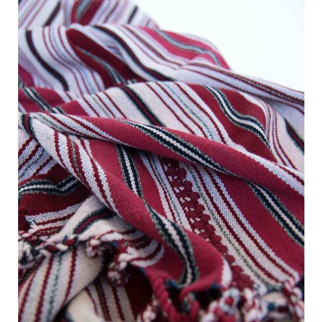 Red & White Handwoven Guatemalan Blanket - Image 3 of 3