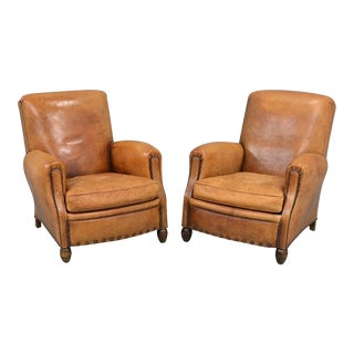 Vintage Leather Nailhead Trim Lounge Chairs