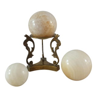 Marble Spheres & Brass Stand - 4 Pieces