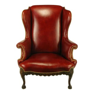 Circa 1940s Red Leather & Carved Walnut Wing Chair