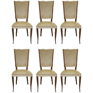 Set of Six French Art Deco Rosewood Dining Chairs, circa 1940s