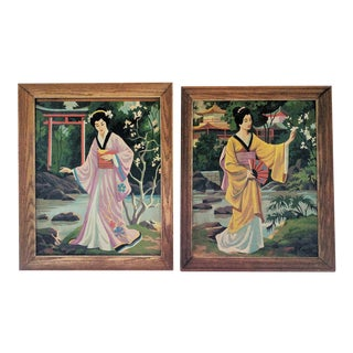 Vintage Japanese Geisha Paintings - Pair