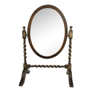 1920s Oak Barley Twist Shaving Mirror