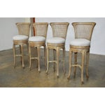 Image of Vintage Swedish Gustavian Style Petite Barstools - Set of 4